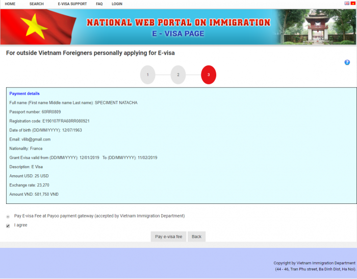 le formulaire du  visa electronique Vietnam
